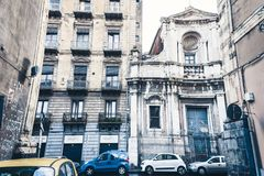 Beautiful cityscape of Italy, facade of old cathedral in Catania, Sicily, Italy, ancient baroque church.  stock images