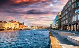 Beautiful cityscape, Malmo Sweden, canal at sunset. Beautiful cityscape, Malmo Sweden, canal Royalty Free Stock Image