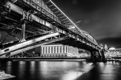 Beautiful cityscape, Moscow at night, the capital of Russia, cit. Y lights and reflection in the river.Black and white image Royalty Free Stock Images