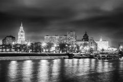 Beautiful cityscape, Moscow at night, the capital of Russia, cit. Y lights and reflection in the river, black and white image Royalty Free Stock Photos