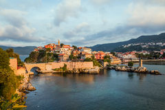 Beautiful cityscape on the mountains over Black-sea, Amasra. Stock Photo