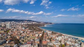 Beautiful cityscape over Varna city, Bulgaria. Panoramic aerial view. Stock Photo