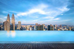 Beautiful cityscape from pool side during daytime Royalty Free Stock Image