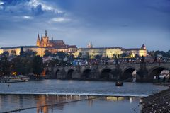 Beautiful Cityscape of Prague at night with Charles BridgeKarluv Most over Vltava river and Prague Castle, Czech Republic Stock Photo