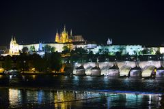 Beautiful Cityscape of Prague at night with Charles BridgeKarluv Most over Vltava river and Prague Castle, Czech Republic Royalty Free Stock Photos