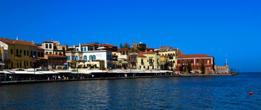 Beautiful cityscape and promenade in city of. Chania quay on island of Crete, Greece Royalty Free Stock Images