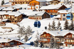 Beautiful cityscape of Sestriere ski resort, Italy royalty free stock photography