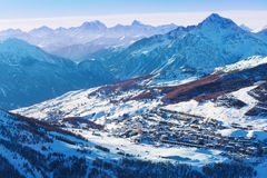 Beautiful cityscape of Sestriere in winter season Stock Photography
