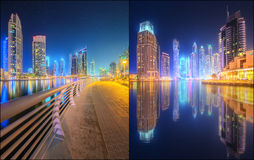 Beautiful cityscape set and collage of Dubai Royalty Free Stock Photos