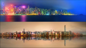 Beautiful cityscape set and collage of Financial district, Hong Kong Royalty Free Stock Photos