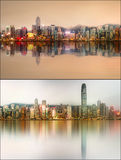Beautiful cityscape set and collage of Financial district, Hong Kong Royalty Free Stock Image
