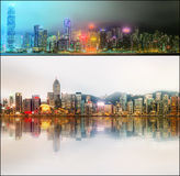 Beautiful cityscape set and collage of Financial district, Hong Kong Stock Images