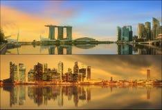 Beautiful cityscape set and collage of Marina Bay Stock Photos