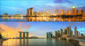 Beautiful cityscape set and collage of Marina Bay Stock Images