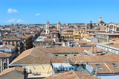 Beautiful cityscape of Sicilian city Catania, Italy taken from a view point above the city center. Catania has many historical. Sites and is a popular tourist stock photos