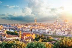 Beautiful cityscape skyline of Florence Italy with Florence Duomo, Basilica di Santa Maria del Fiore and the bridges. Over the river Arno. Firenze landmarks stock image