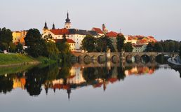 Beautiful cityscape of the small city Pisek in Czech Republic. With panoramic reflection in the Otava River Stock Photography