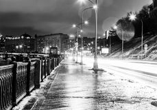 Beautiful cityscape, street in the night city, Moscow, Russia. B. Lack and white image Royalty Free Stock Images