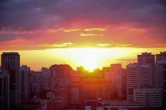 Beautiful Cityscape Sunset at Novosibirsk Royalty Free Stock Photos