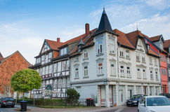 Beautiful cityscape with typical German wooden house in Wolfenb Stock Image