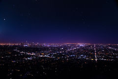 Beautiful cityscape view of Los Angeles at night royalty free stock photos