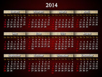 Beautiful claret calendar for 2014 year in English Royalty Free Stock Photos