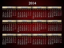 Beautiful claret calendar for 2014 year in Russian Stock Photography