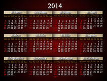 Beautiful claret calendar for 2014 year in Spanish Stock Images