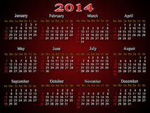 Beautiful claret calendar for 2014 year Stock Photography