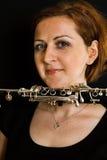 Beautiful clarinetist women Stock Photography