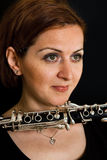 Beautiful clarinetist women Royalty Free Stock Images