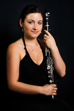 Beautiful clarinetist women Royalty Free Stock Photography
