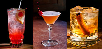 3 Beautiful classic cocktails stock photos