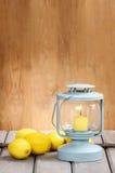 Beautiful classic lantern on wooden table Stock Photos