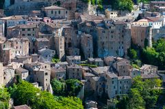 Beautiful classic panoramic view of the ancient town of Sorano in autumn, province of Grosseto, southern Tuscany, Italy Royalty Free Stock Images