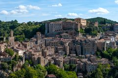 Beautiful classic panoramic view of the ancient town of Sorano in autumn, province of Grosseto, southern Tuscany, Italy. Classic panoramic view of the ancient Royalty Free Stock Photography