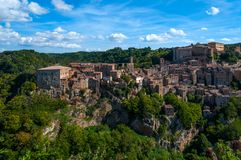 Beautiful classic panoramic view of the ancient town of Sorano in autumn, province of Grosseto, southern Tuscany, Italy. Classic panoramic view of the ancient Royalty Free Stock Photo