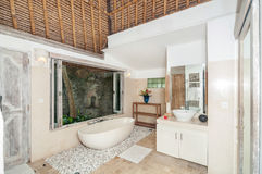 Beautiful, classic style and Clean Stone Bathup room Royalty Free Stock Photos