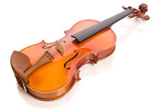 Beautiful Classic Violin. Exquisite classical violin on white reflective background Stock Photos