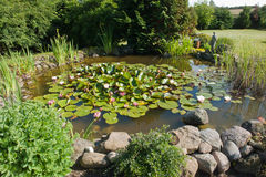 Beautiful classical garden fish pond Stock Photo