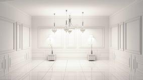 Beautiful classical luxury white interior. 3D rendering. Mock up Beautiful classical luxury white interior. 3D rendering stock illustration