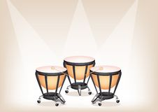 Beautiful Classical Timpanis on Brown Stage Backgr Stock Image
