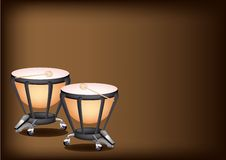 Beautiful Classical Timpanis on Dark Brown Backgro Royalty Free Stock Images