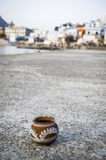 Beautiful clay pot. A shot of a handmade clay pot Royalty Free Stock Images