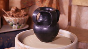 Beautiful clay Potter's jug rotating stock footage