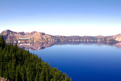 A beautiful and clean horizontal view of the Crater Lake in Oregon, US. Shot at the Crater Lake National Park Royalty Free Stock Image