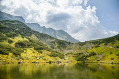 A beautiful, clean lake in the mountain valley in calm, sunny day. Mountain landscape with water in summer. Tatry mountains in Slovakia, Europe royalty free stock photo