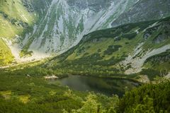 A beautiful, clean lake in the mountain valley in calm, sunny day. Mountain landscape with water in summer. royalty free stock images