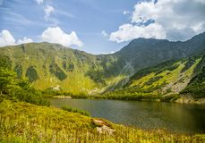A beautiful, clean lake in the mountain valley in calm, sunny day. Mountain landscape with water in summer. Tatry mountains in Slovakia, Europe royalty free stock images