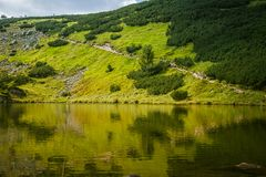 A beautiful, clean lake in the mountain valley in calm, sunny day. Mountain landscape with water in summer. Tatry mountains in Slovakia, Europe stock photos